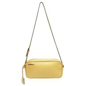 Prada yellow saffiano leather shoulder camera bag